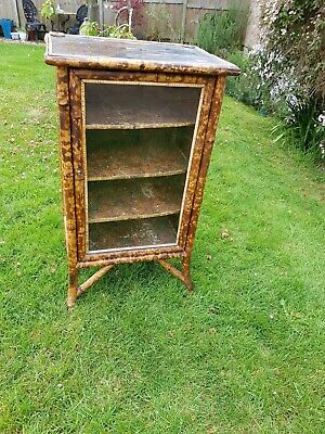 Antique Tiger Bamboo Oriental Pier Cabinet Display,Ebonised hand painted top