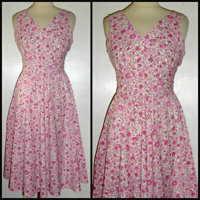 Vintage 40S - 70S Nipped Waist Full Summer Dress Uk 10 Wartime Landgirl Wwii