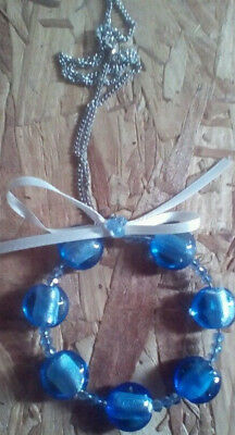 Handmade Necklace w/Glass Blue Beads and White Bow - Silver Colored Chain