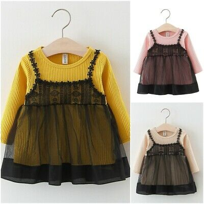 Cute Lace Baby Girls Tutu Dresses Toddler Kids Knee Length Draped Kids Outfit