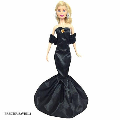 New Barbie doll clothes outfit evening gown black fishtail dress with stole