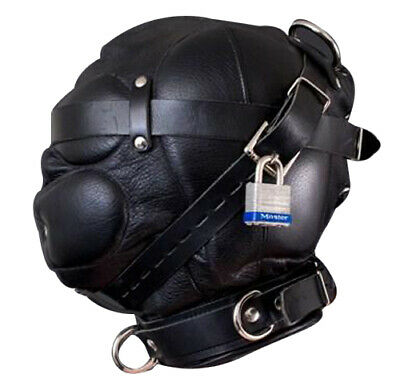 Men Sensory Deprivation Hood Bondage Mask Black Soft Leather Unisex