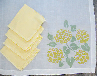 Sheer Organza Tablecloth Table Topper with Napkins, Yellow Hydrangea Print, 35""