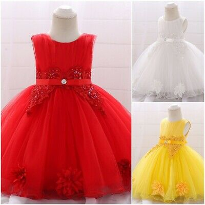 Floral Knee Length Baby Girls Dresses Sleeveless Formal Infant Toddlers Outfit
