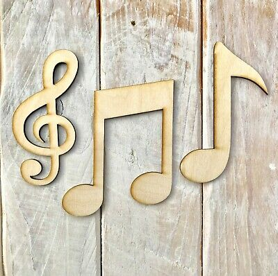10 Pack Wooden Blank Craft Shape Musical Note Collection