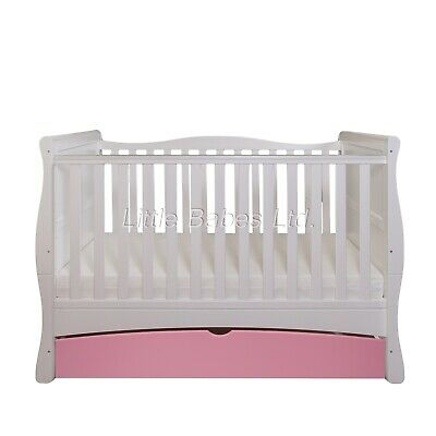 LIMITED EDITION Baby White & Pink Sleigh Cot Bed + Drawer - Optional Mattress