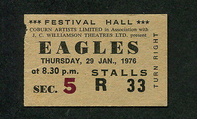 1976 Eagles concert ticket stub Melbourne Australia One Of These Nights Tour