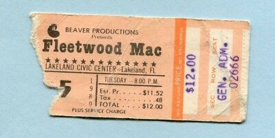 1980 Fleetwood Mac concert ticket stub Lakeland Civic Center FL Tusk Tour