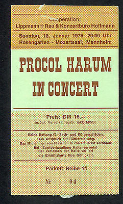 Original 1976 Procol Harum concert ticket Mozartsaal Mannheim Germany