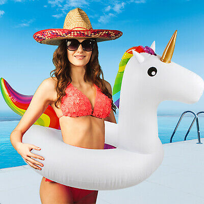 "36"" Giant Flamingo Unicorn Shaped Inflatable Swim Ring Pool Float Raft Beach UK"