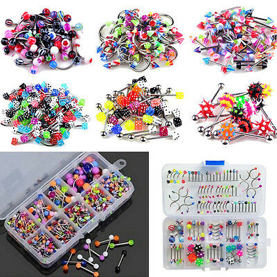 Wholesale Lots Mixed Lip Piercing Body Jewelry Barbell Rings Tongue Ring 60X RF