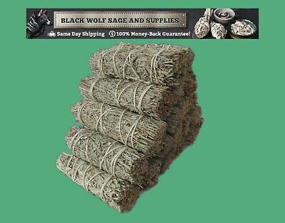 "Wholesale Bulk Blue Sage Smudge Bundle 4"" Long. 6 Pack. (Premium Grade) Smudge"