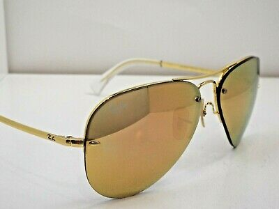 511a5eb2ce2d5 Authentic Ray-Ban RB 3449 001 2Y Gold Copper Mirror Aviator Sunglasses  225