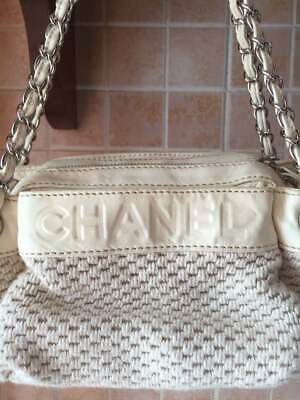 1a073af7bc Chanel, Autentica Borsa In Tessuto E Pelle Color Crema