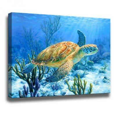 Wall Art Canvas Beach Turtle Ocean Home Decor Nautical Wall 12x16 Office Gift