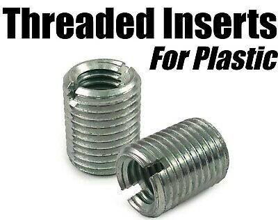 M10 x 18mm Threaded Screw In Inserts for Plastic Self Tapping Zinc Plated