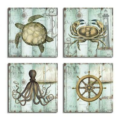 Wall Art Canvas Nautical Beach Decor Set 4 Ocean Octopus Turtle Crab Rustic New