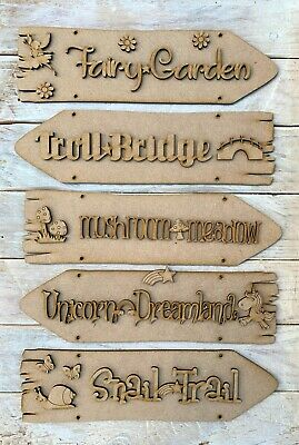 MDF Hanging Fairy Trail Fairy Village Direction Sign Post