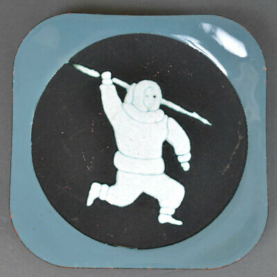 Canadian Inuit Throwing Spear Glass Enamel on Copper Dish Mid-Century Modern MCM