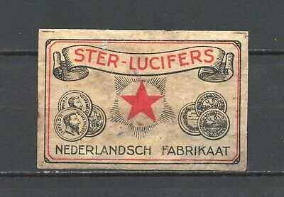 """Made in Holland """"Ster Lucifers"""" Star Matches Old Vintage Matchbox Label"""