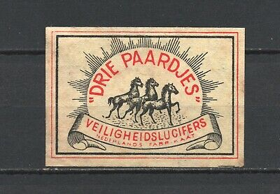 """Made in Holland """"Drie Paardjes"""" Three Horses Old Vintage Matchbox Label"""