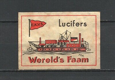 """Made in Holland """"Wereld's Faam"""" Ship Old Vintage Matchbox Label"""