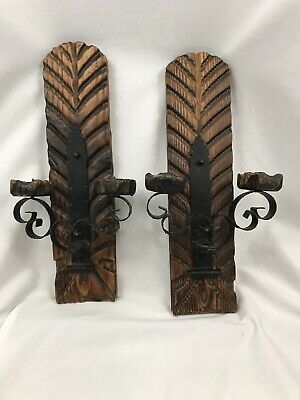 Witco Conquistador Inspired Vintage Wall Sconces Candle Holders Wrought Iron