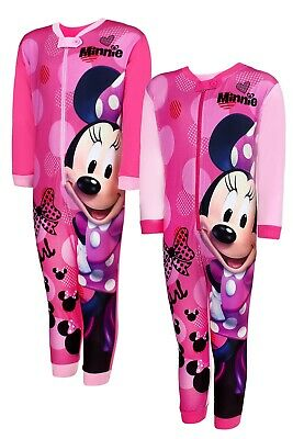 Girls Minnie Mouse All In One Sleepsuit Disney Minnie Cotton Nightwear Age 3-8 Y