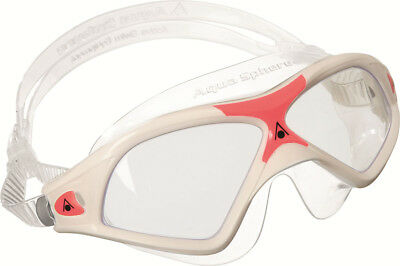 Aqua Sphere Seal XP2 Ladies Swimming Goggles Masks Clear lens White/Red