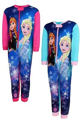 Girls Frozen All In One Sleepsuit Disney Frozen Cotton Nightwear Age 4-10 Y