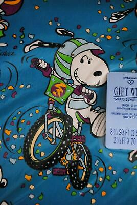 Vtg 1950s Peanuts Snoopy Hallmark Gift Wrapping Paper 4 Sheets Bicycle Tricks