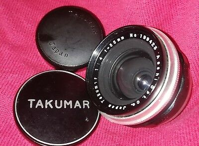 NM 1957-59 TAKUMAR 35mm f4 Orig. Caps+Case 1st Jap. W/A!