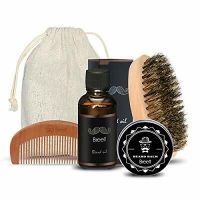 Kit Cuidado de Barba 4 pcs,Breett Cepillo Para Barba, Peine Para Barba, Ac(Oil)