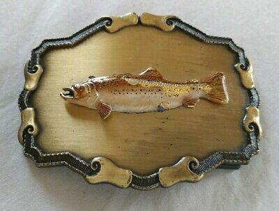 Fish Rainbow Trout Salmon Fishing Wildlife Vintage Raintree Belt Buckle