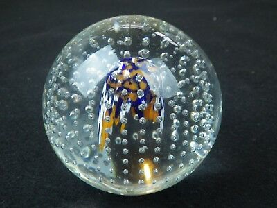 Murano Controlled Bubble Magnum Paperweight Vintage Italian Art Glass