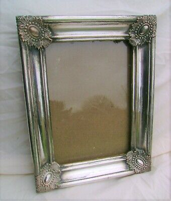 Arts and Crafts/Art Nouveau Silvered Copper On Wood Picture Frame.