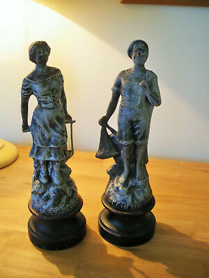 French Antique couple Figurines Pecheur et Pecheuse (fishing couple)