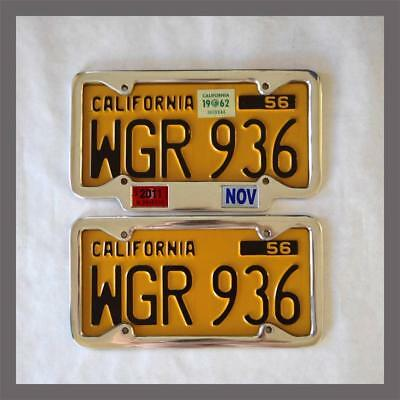 California YOM License Plate Frames Pair 1956 - Current DMV Month Year Stickers