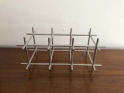 MID-CENTURY MODERN WINE Brushed Steel WIRE RACK VINTAGE CHROME 1073