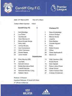 Cardiff City v Chelsea 2018/19 Official Teamsheet ONLY