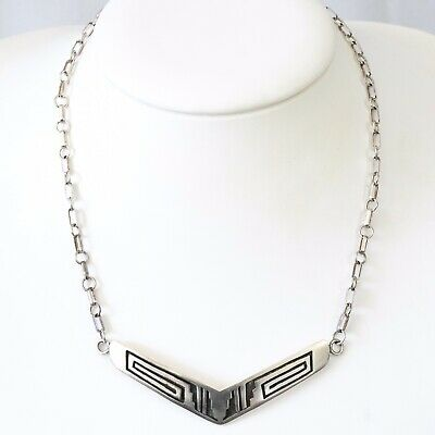 Vintage Native American Hopi pendant sterling Shadow Box Style unusual necklace