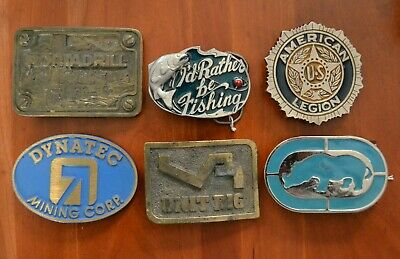 Vintage lot of 6 heavy belt buckles macho construction drill mining legion brass