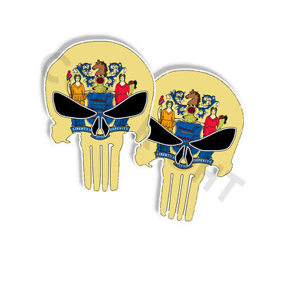 "PUNISHER STICKERS Montana State Flag Skull Decals 3/"" tall 2-pack"