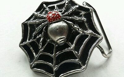 Spider Crawling On Web Black Red Silver Colored Vintage Belt Buckle Instyle 1978