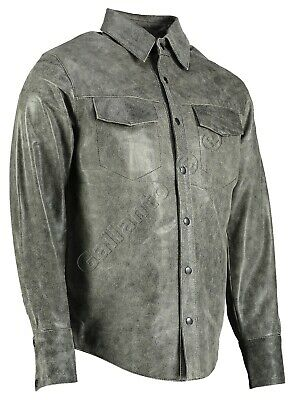 Full Sleeve Distressed Vintage Leather Shirt Biker Motorcyle Long Soft Cowhide