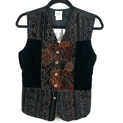 New! Jaclyn Smith Classics Suede Embroidered Applique Sash Tie Vest Size Small