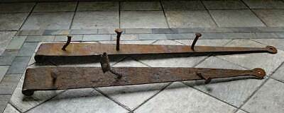 2 Antique IRON BARN DOOR HINGES RUSTY - 100 YEARS OLD