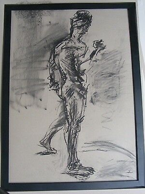 Figure life drawing nude expressive, charcoal/ paper, man standing, A1/A2 size @
