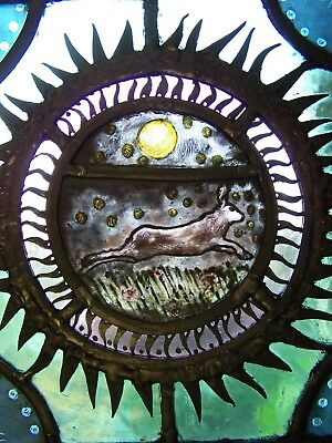 Victorian style stained glass panel with hare.