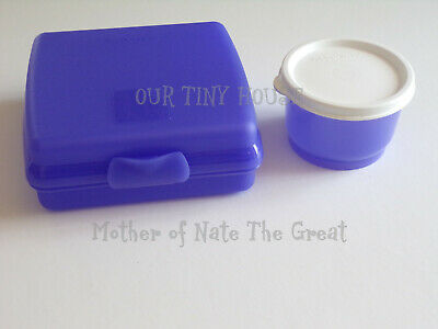 Tupperware Sandwich Keeper and Snack Cup Lunch Set PURPLE Hinged Container NEW